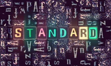 The word Standard with neon luminous glowing, unique typeset letters abstract mosaic pattern background, lettering symbols collection for standard poster