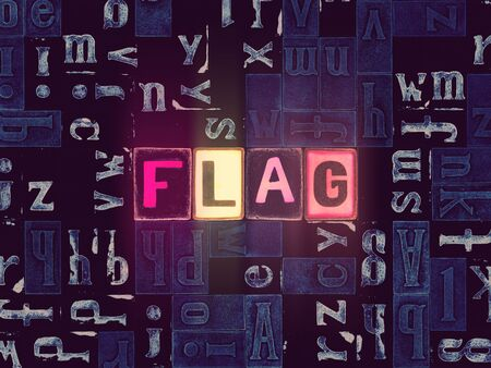 The word Flag as neon glowing unique typeset symbols, luminous letters flag
