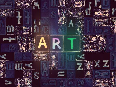 The word Art as neon glowing unique typeset symbols, luminous letters art Stok Fotoğraf