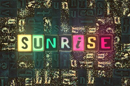 The word Sunrise with neon luminous glowing, unique typeset letters abstract mosaic pattern background, lettering symbols collection for sunrise poster Stok Fotoğraf