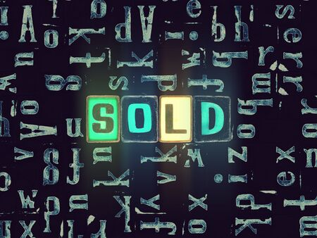 The word Sold as neon glowing unique typeset symbols, luminous letters sold Stok Fotoğraf