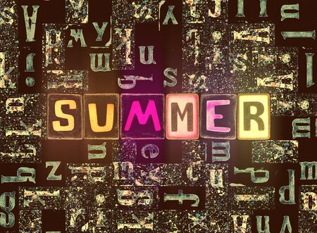 The word Summer as neon glowing unique typeset symbols, luminous letters summer Stok Fotoğraf