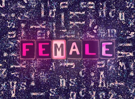 The word Female with neon luminous glowing, unique typeset letters abstract mosaic pattern background, lettering symbols collection for female poster