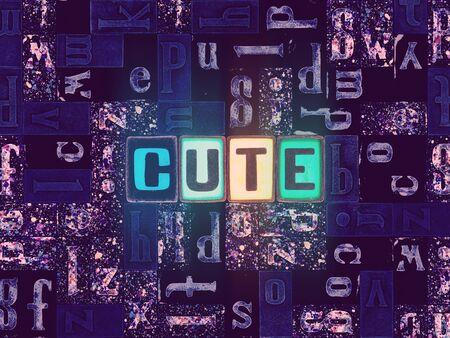 The word Cute as neon glowing unique typeset symbols, luminous letters cute Stok Fotoğraf