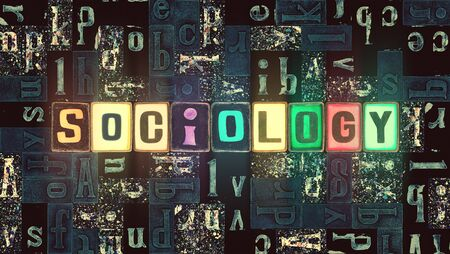 The word Sociology with neon luminous glowing, unique typeset letters abstract mosaic pattern background, lettering symbols collection for sociology poster Stok Fotoğraf