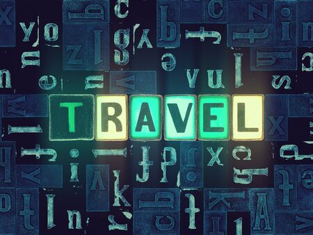 The word Travel with neon luminous glowing, unique typeset letters abstract mosaic pattern background, lettering symbols collection for travel poster