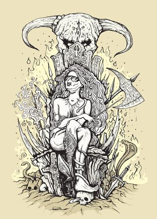 Hand drawn hipster queen on a throne with skulls in hell. Vector illustration. Çizim