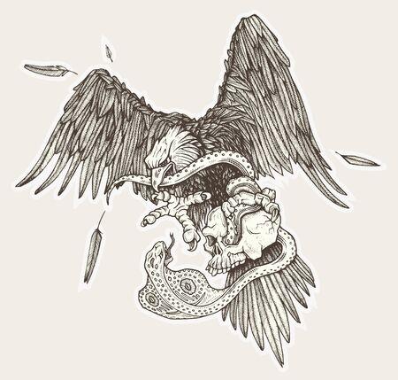 Eagle vs snake in skull in vector. Hand drawn illustration.