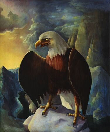 Bald eagle in mountains oil painting landscape with rocks, wild bird drawing in nature, hand drawn american eagle illustration. Stok Fotoğraf