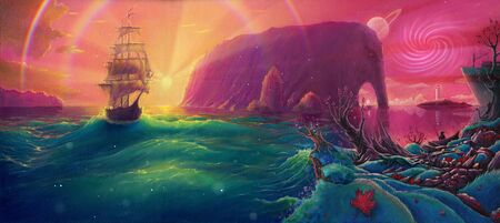 Fantasy Oil painting sunset sea landscape with ship, sun light beams and planets, seascape by oil on canvas, hand drawn illustration with watercolor colors Stok Fotoğraf