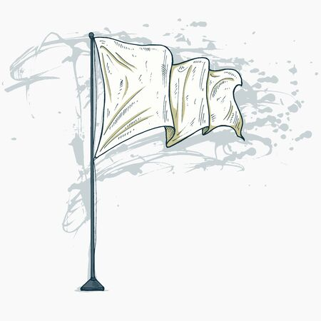 Flag template with empty white cloth waving on flagpole in vector