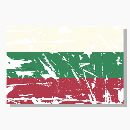 Bulgarian flag with scratches, vector flag of Bulgaria. Standard-Bild - 132982089