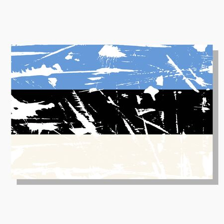 Estonian flag with scratches, vector flag of Estonia.