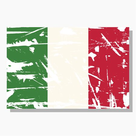 Italian flag with scratches, vector flag of Italy. Standard-Bild - 132981989