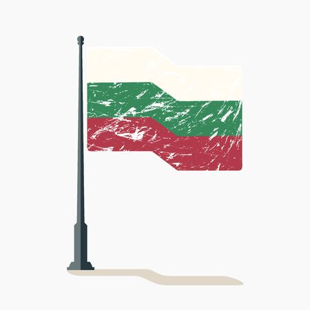 Bulgarian flag with scratches, vector flag of Bulgaria waving on flagpole with shadow. Standard-Bild - 132982098