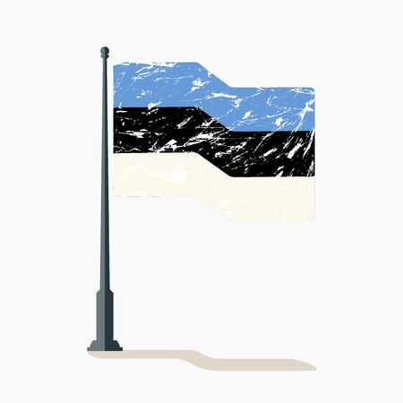 Estonian flag with scratches, vector flag of Estonia waving on flagpole with shadow.  イラスト・ベクター素材