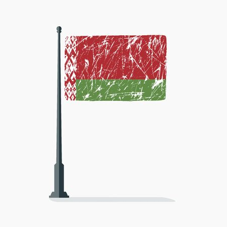 Belarusian flag with scratches, vector flag of Belarus on flagpole with shadow. Standard-Bild - 132982134