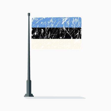 Estonian flag with scratches, vector flag of Estonia on flagpole with shadow  イラスト・ベクター素材
