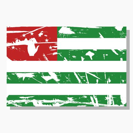 Abkhazian flag with scratches, vector flag of Abkhazia.