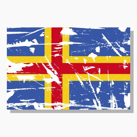 Aland flag with scratches, vector flag of Aland. Ilustracja