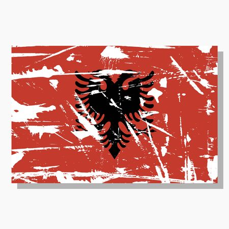 Albanian flag with scratches, vector flag of Albania.