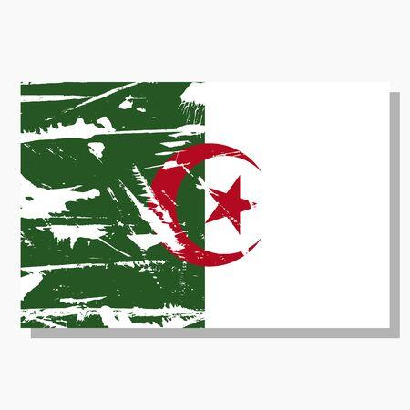 Algerian flag with scratches, vector flag of Algeria. Ilustracja