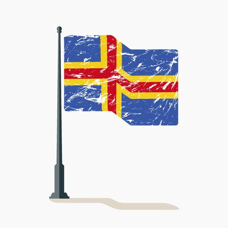 Aland flag with scratches, vector flag of Aland waving on flagpole with shadow. Ilustracja