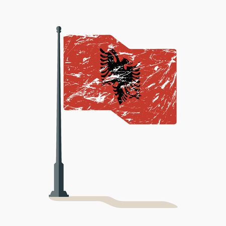 Albanian flag with scratches, vector flag of Albania waving on flagpole with shadow.