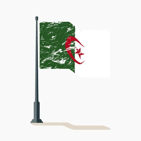 Algerian flag with scratches, vector flag of Algeria waving on flagpole with shadow. Ilustracja
