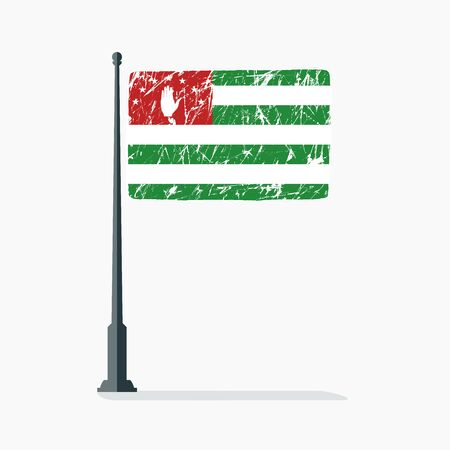 Abkhazian flag with scratches, vector flag of Abkhazia on flagpole with shadow. Ilustracja