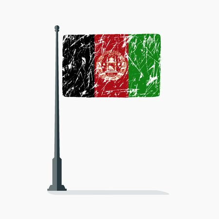 Afghan flag with scratches, vector flag of Afghanistan on flagpole with shadow.