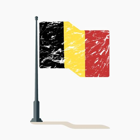Belgian flag with scratches, vector flag of Belgium waving on flagpole with shadow. Ilustração