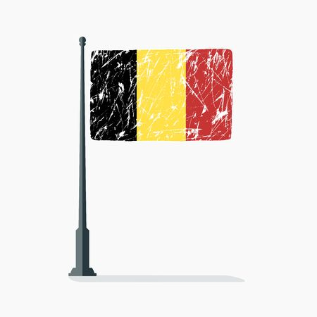 Belgian flag with scratches, vector flag of Belgium on flagpole with shadow.
