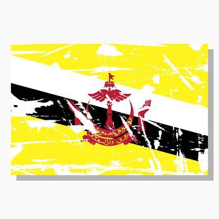 Brunei flag with scratches, vector flag of Brunei. Stock Illustratie