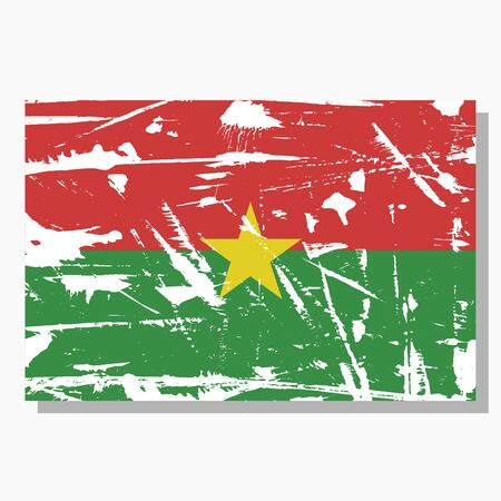 Burkina Faso flag with scratches, vector flag of Burkina Faso.