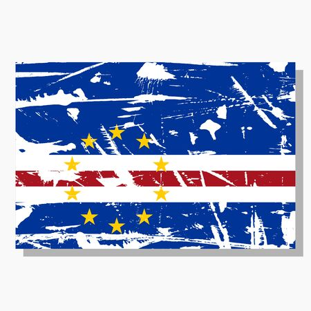 Cape Verde flag with scratches, vector flag of Cape Verde.