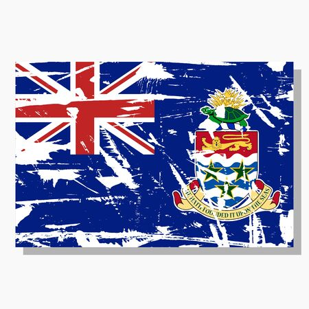 Cayman Islands flag with scratches, vector flag of Cayman Islands.