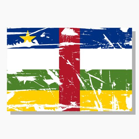Central African Republic flag with scratches, vector flag of Central African Republic.