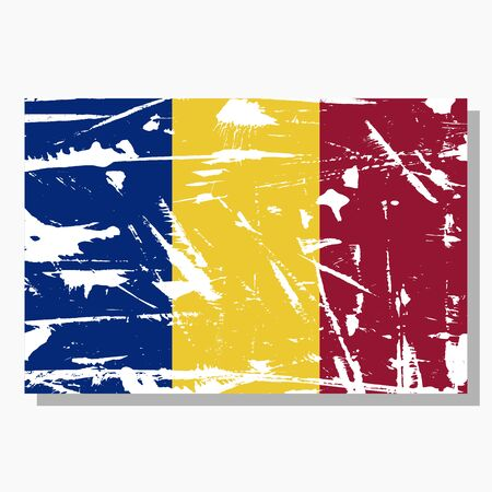 Chad flag with scratches, vector flag of Chad.