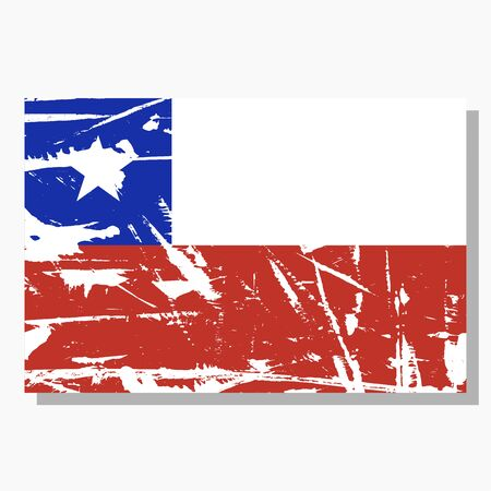 Chilean flag with scratches, vector flag of Chile.