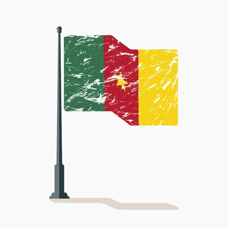 Cameroon flag with scratches, vector flag of Cameroon waving on flagpole with shadow.