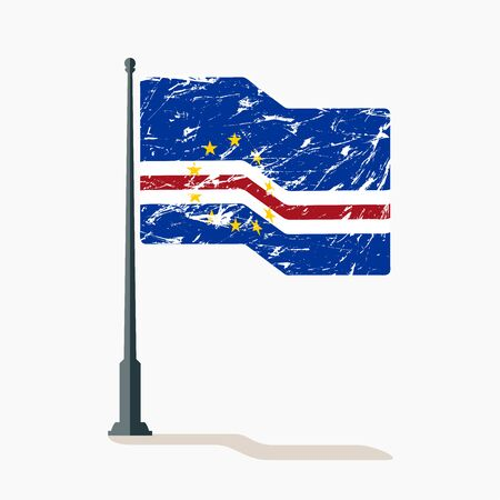Cape Verde flag with scratches, vector flag of Cape Verde waving on flagpole with shadow.
