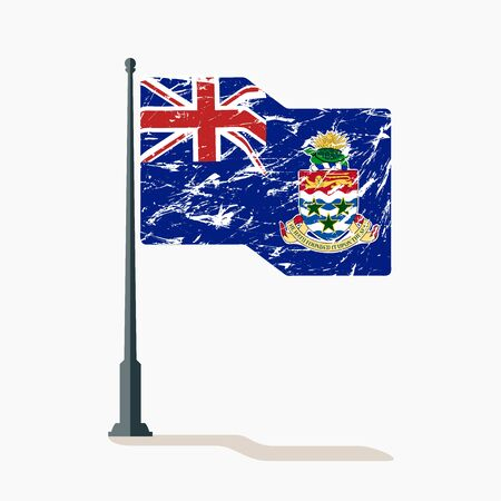 Cayman Islands flag with scratches, vector flag of Cayman Islands waving on flagpole with shadow.