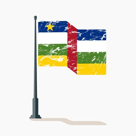 Central African Republic flag with scratches, vector flag of Central African Republic waving on flagpole with shadow.