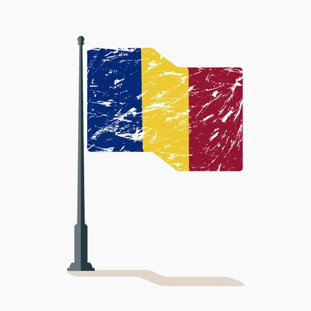 Chad flag with scratches, vector flag of Chad waving on flagpole with shadow. Stock Illustratie
