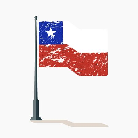 Chilean flag with scratches, vector flag of Chile waving on flagpole with shadow.