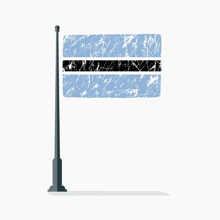 Botswana flag with scratches, vector flag of Botswana on flagpole with shadow.