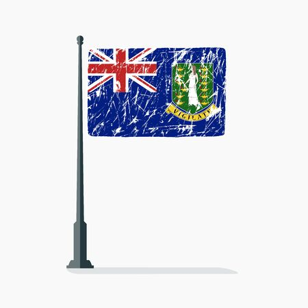 British Virgin Islands flag with scratches, vector flag of British Virgin Islands on flagpole with shadow.