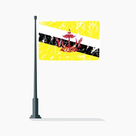 Brunei flag with scratches, vector flag of Brunei on flagpole with shadow.