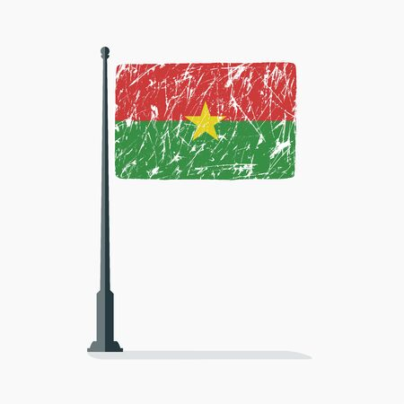 Burkina Faso flag with scratches, vector flag of Burkina Faso on flagpole with shadow.